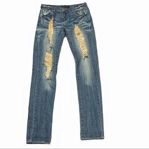 Costa Blanca Distressed Slim Straight Jeans Sz 28